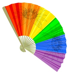 Traditional a rainbow folding fans vector