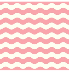 Wave retro seamless pattern pastel pink and white vector image
