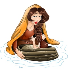 Moses placed in water by his mother vector