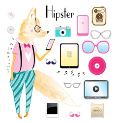 hipster fox and objects vector image
