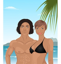 Beach girl and boy background vector