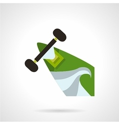 Green longboard flat icon vector