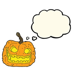 Cartoon spooky pumpkin with thought bubble vector