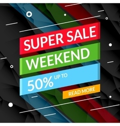Super sale poster text on ribbon sale promotional vector