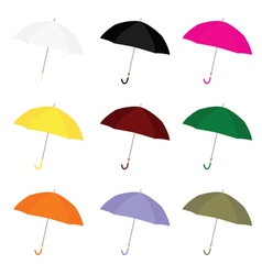 Umbrella color set vector