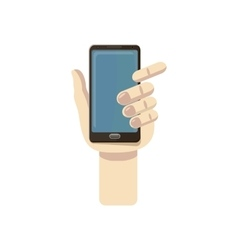 Mobile phone in hand icon cartoon style vector