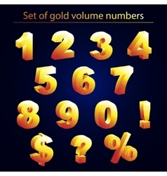 Volume set of gold numerals vector