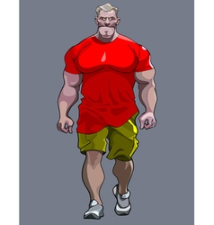 Cartoon tense man bodybuilder goes vector