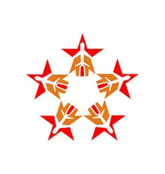 Star plane logo aviation flying vector