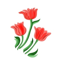 Red tulips set vector