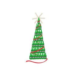 Beer bottle christmas tree retro vector