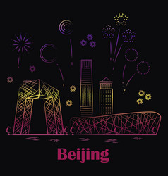 Beijing linear landscape - festive china with vector