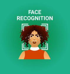 Biometrics scanning face recognition of female vector
