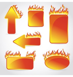 Burning with fire design sale stickers and tags vector image vector image