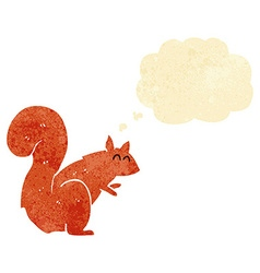 Cartoon red squirrel with thought bubble vector