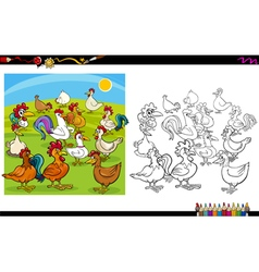 Chicken characters coloring book vector