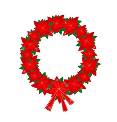 Christmas wreath of red poinsettia flowers and bow vector