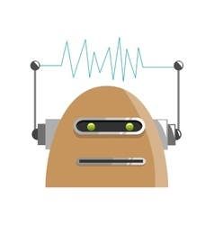 Colorful brown robot with two antennas icon vector
