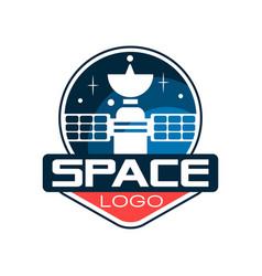 creative logo with cosmic satellite astronautics vector image