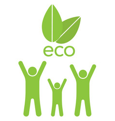 Eco family ahd leaves vector