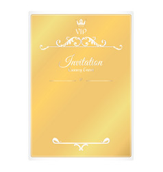 Elegant golden card for invitations with leafy vector