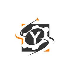 Gear solution logo letter y vector