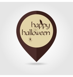 Happy halloween mapping pin icon spider raven vector