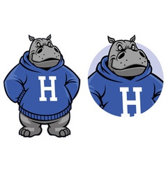 hippo mascot vector image vector image