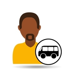 man bearded character bus vehicle transport vector image