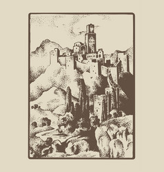 Medieval castle in the hill in tuskany italy vector