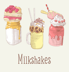 milkshake and ice cream hand drawn doodle vector image vector image
