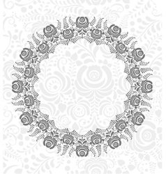 Ornate floral frame in Russian style Gzhel vector image