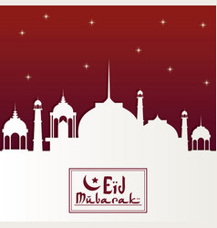 Red color starry background with silhouette eid vector