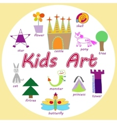 Set of kids art drawings vector