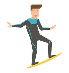 Smiling Surfer Man on Surfboard vector image vector image