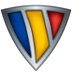 steel shield with flag romania vector image vector image