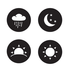 Time of day black silhouette icons vector