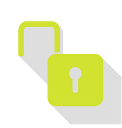 Unlock sign pear icon with flat vector