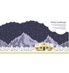 Winter house landscape vector