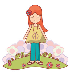 Woman relaxing with flowers icon vector