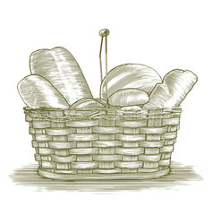 Woodcut bread basket vector