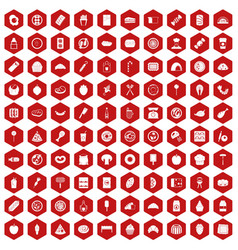 100 delicious dishes icons hexagon red vector