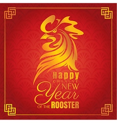 Chinese new year greeting card with rooster vector image