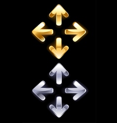 symbols arrows of gold and silver vector image