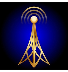 Gold antenna icon on blue background vector