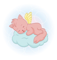 Cute sleeping angel-cat vector