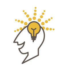 Man head profile with lighted lamp as symbol of vector