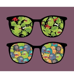 Retro sunglasses with many monsters reflection vector