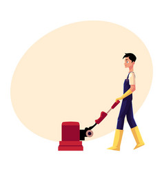 Cleaning service boy man using floor cleaning vector