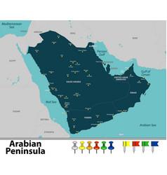 Map of arabian peninsula vector